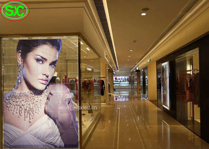 P6.25 High Brightness Glass Transparent LED Display Video Screen